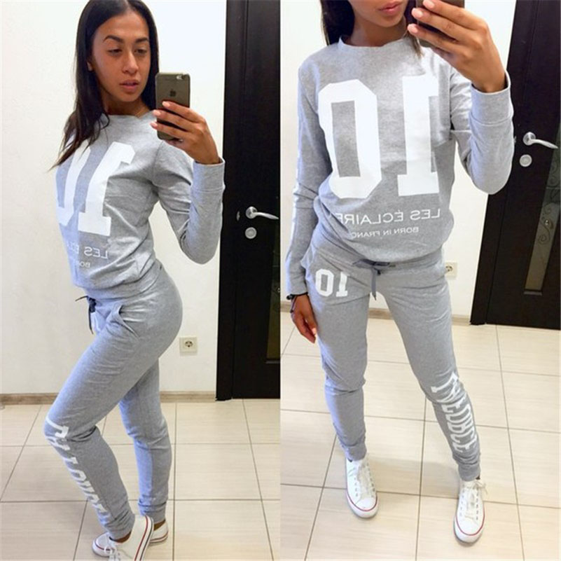 Letter Print 2 Two Piece Set Top And Pants Women Cotton Tracksuit Pullovers Hoodies Sweatshirt Loose Suits Casual Sportwear 2018