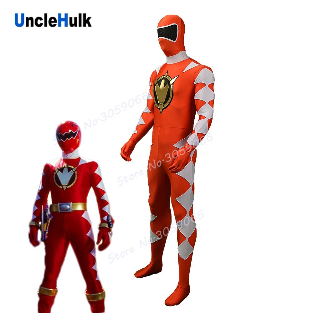 Dino Thunder AbareRed Red Ranger Spandex Lycra Zentai Halloween Cosplay Costume   UncleHulk