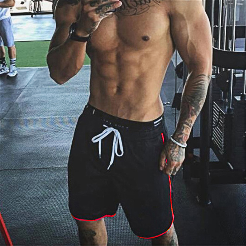 Brand Summer Mens Shorts Knee Length Fitness Shorts Bodybuilding Solid Casual Joggers Workout Loose Fit Gyms Shorts Sweatpants
