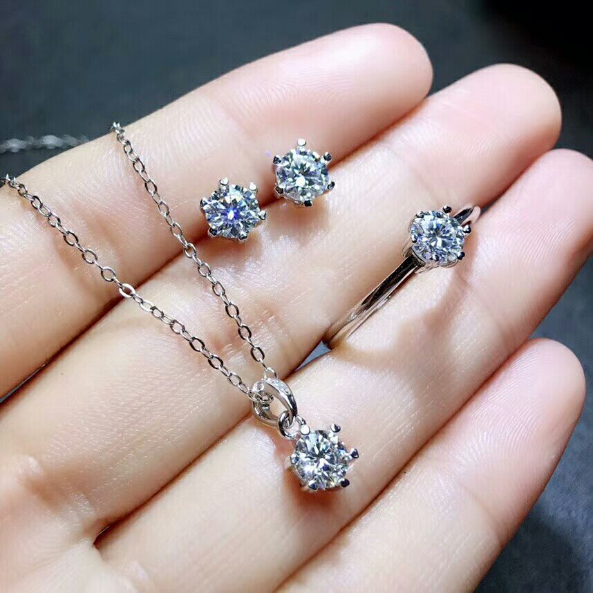 MeiBaPJ Real Moissanite Gemstone Jewelry Set 925 Solid Silver Classic 6 Claws Necklace Earrings Ring Wedding