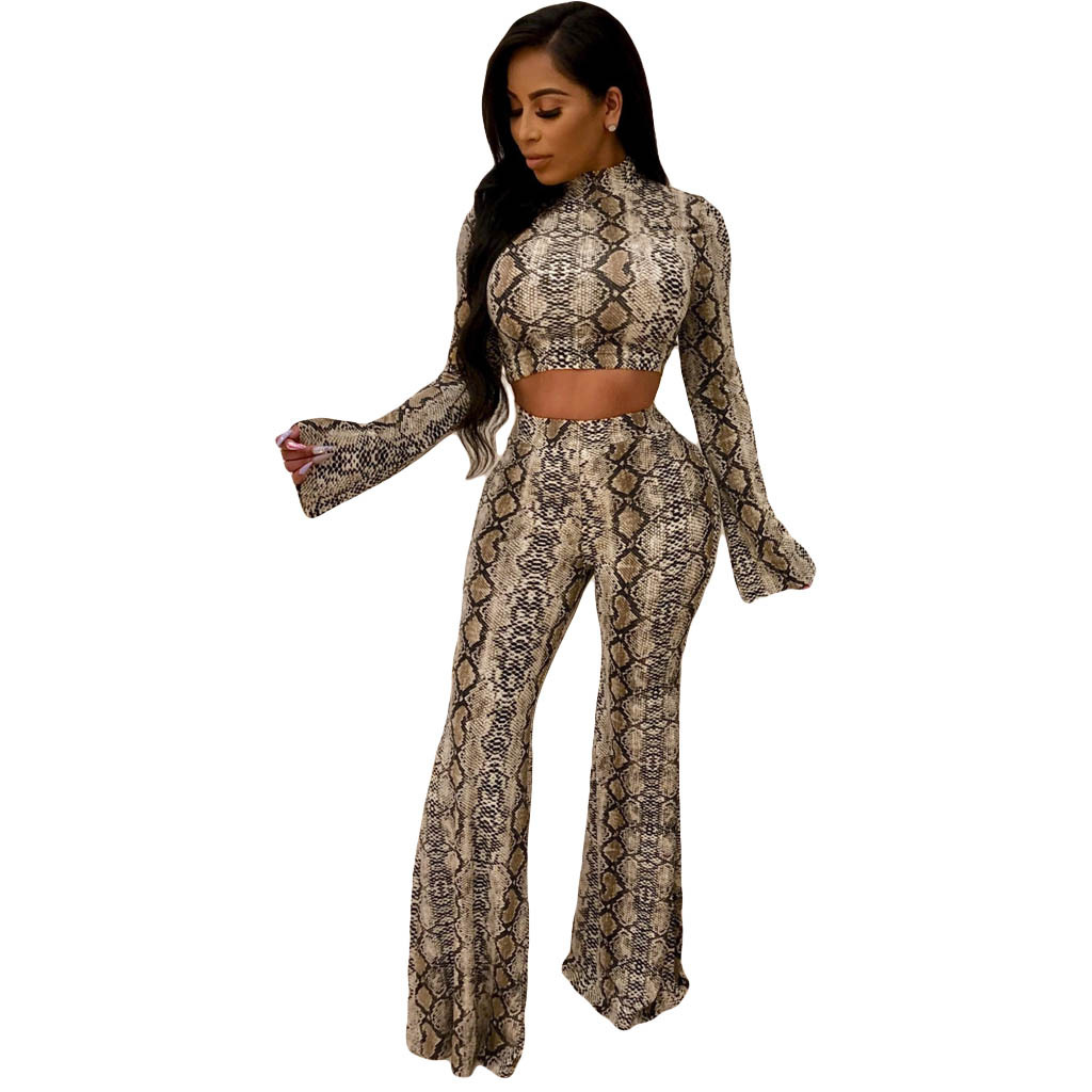 Women Snake Skin Two Pieces Set Long Flare Sleeve Sexy Turtleneck Crop Top and Elastic High Waist Wide Leg Pants Tanksuits Party in Women 39 s Sets from Women 39 s Clothing