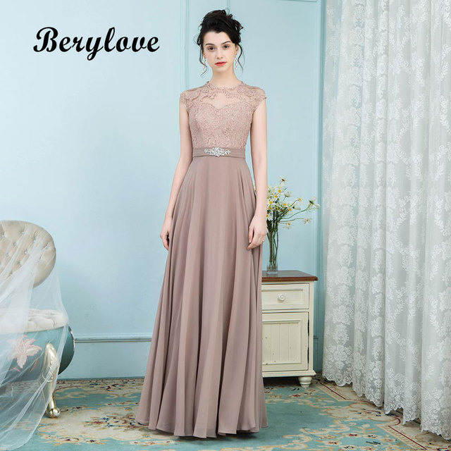 BeryLove Elegant Dark Champagne Long Mother of the Bride Dresses Lace Evening Dress 2018 Formal Party Dresses Prom Gowns
