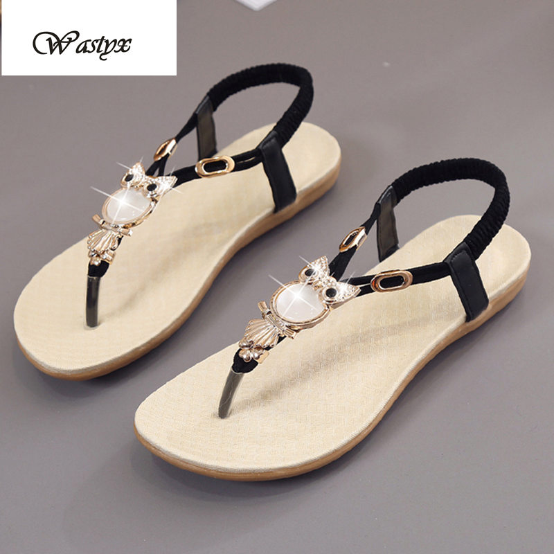 b5ae0aea7597a5 Women sandals 2017 Rhinestone sandals woman Summer shoes fashion Thong  Sandal Boho Owl Beads Girls Beach Flat Foothold Shoe-in Women s Sandals  from Shoes on ...