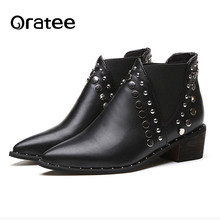 Rivets spring single boots pointed toe thick heel ankle boots ladies short boots women boots