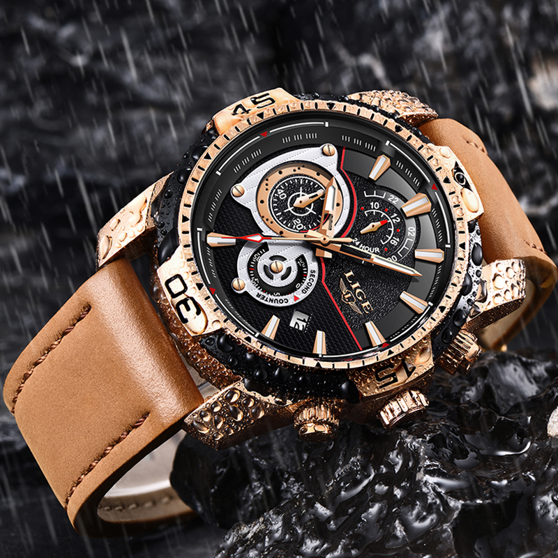 2020 LIGE Mens Watches Top Brand Luxury Casual Leather Quartz Clock Male Sport Waterproof Watch Gold Watch Men Relogio Masculino 3