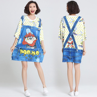 Vogue Ladies Summer Casual Plus Size Clothing Novelty Printed Fake Jeans Overalls Casual Funny Cool T