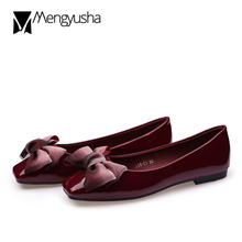 069028c18b8 Designer Square Toe Japanned Leather Flats Women shoes Bow-knot Riband  Loafers Ladies shoes big