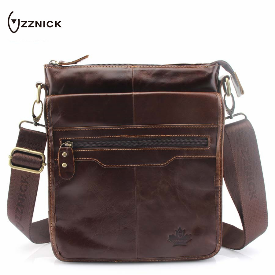 ZZNICK 2018 Fashion Men's Genuine Leather Bag Brand Casual Cow Leather Business Men Bag New Shoulde Travel Crossbody Bag For Man