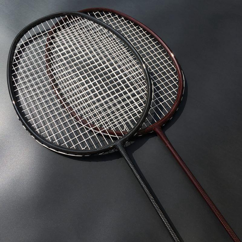 1 Pc Free ShippingBLACK Woven Badminton Racket 100% Carbon Fiber Badminton Racket 4u 82g
