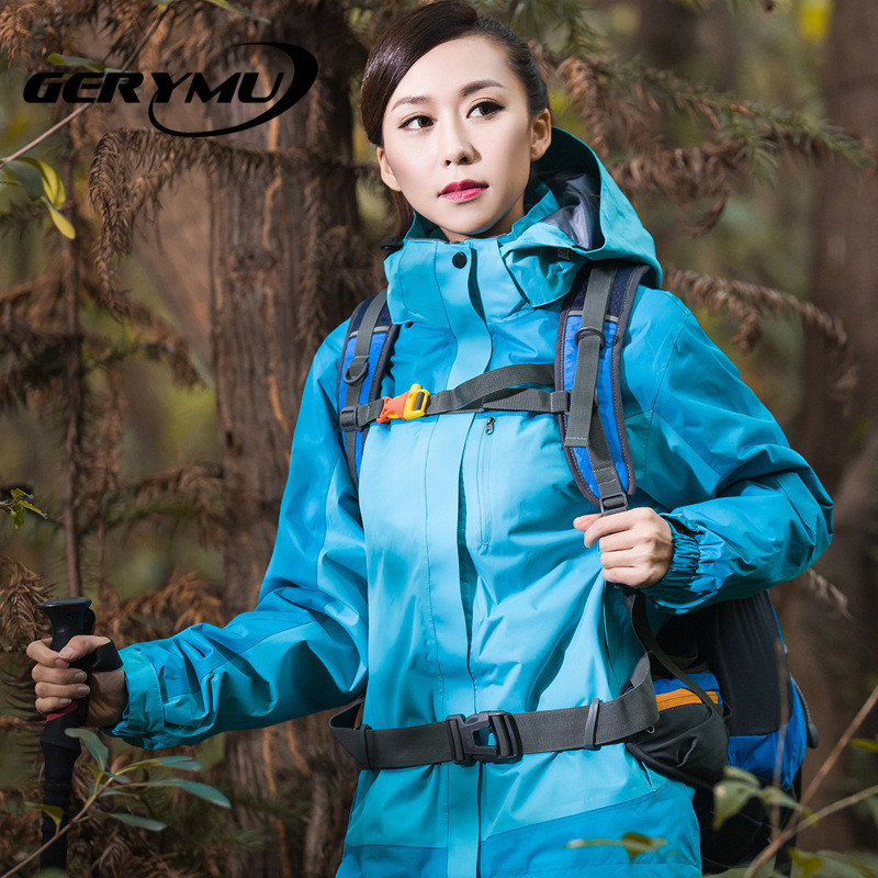 ФОТО 2016 Outdoor women Winter skiing clothing 2-1 soft shell waterproof windbreaker coat hiking hunting camping climbing jacket