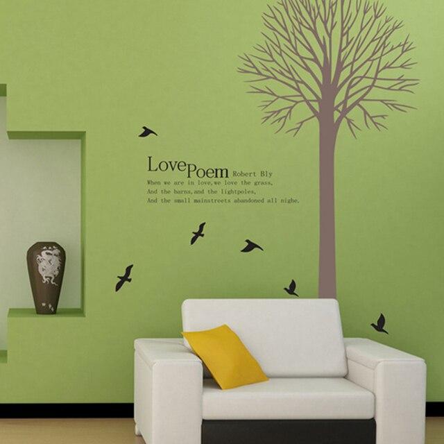 Smontabile 60*90 cm Love Poem Quote Wall Sticker Creativo Albero Uccello Sala Da Parati FAI DA TE Pasta Decalcomania Del Vinile Camera Da Letto Camera Da Letto di casa