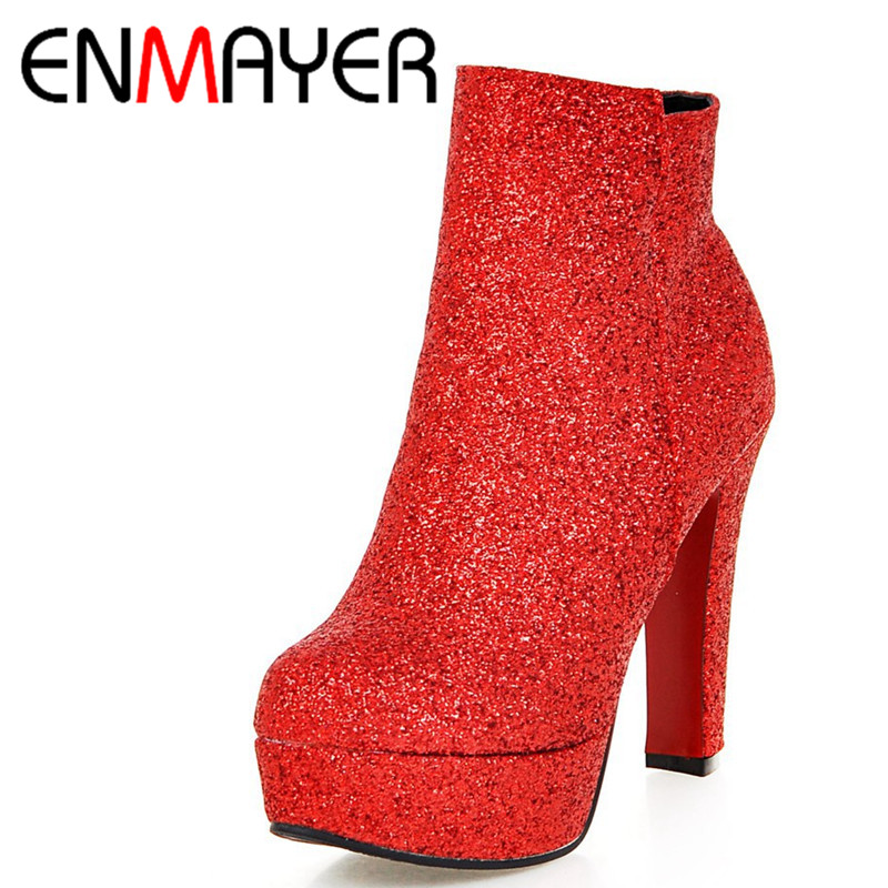 ФОТО ENMAYER Sexy Red High Heels Ankle Boots for Women Zippers Winter Boots Shoes Woman Large Size 34-45 Round Toe Platform Boots
