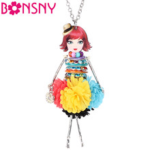 Bonsny Acrylic Crystal Handmade French Doll Necklace Pendant Long Chain Collar Novelty Jewelry Charm For Women Girls Teens Gifts(China)