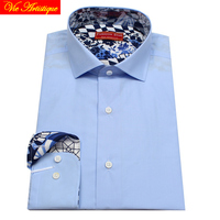 Male Long Sleeve Business Formal Dress Baby Blue Cotton Shirts Men S Big Plus Size Casual
