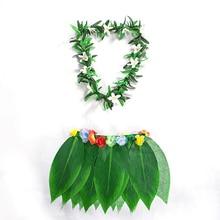 New Hawaiian Wreath Plant Grass Skirt Tropical Artificial Leaf Flower Hula With Lei
