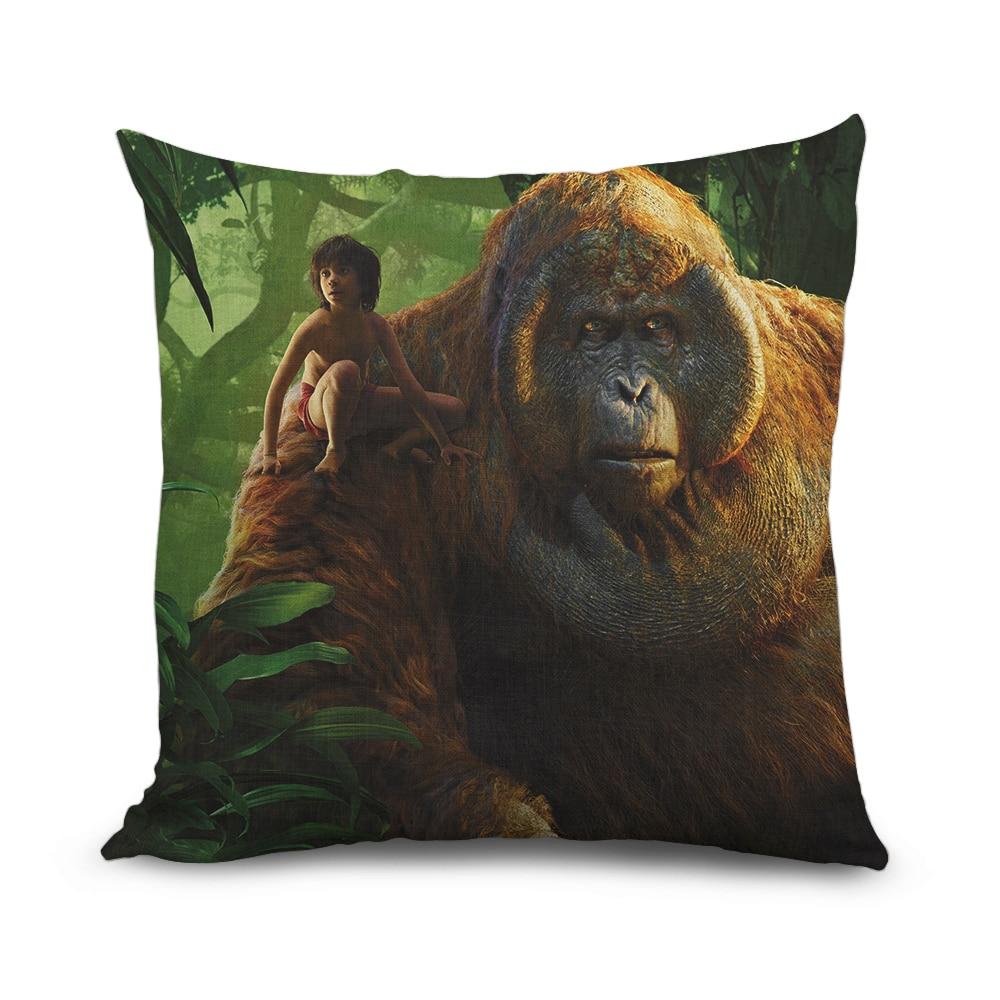 45cmx45cm Decorative Cushion Cover Cotton Linen Jungle Book Orangutans Mowgli Fashion Jungle Style Home Decor Pillowcase