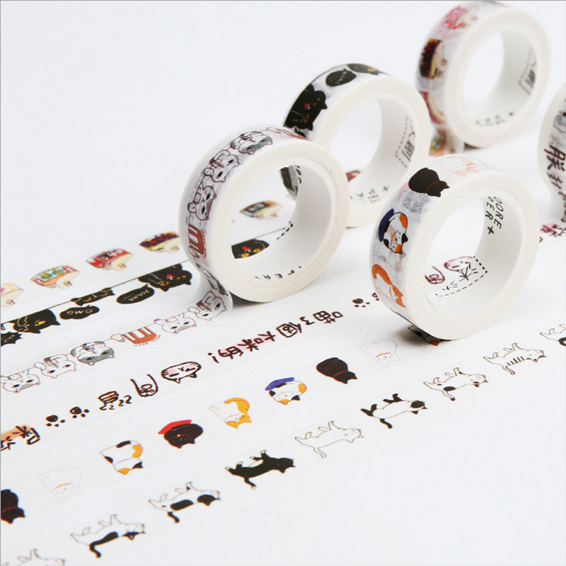 1.5cm*7m Lovely Cat Kitten Washi Tape DIY Decoration Scrapbooking Planner Masking Tape Adhesive Tape Kawaii Stationery Gift