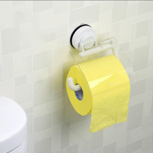 Wall Mounted Toilet Roll Holder Suction WC Paper Plastic In White With Cover for Bathroom Organizer