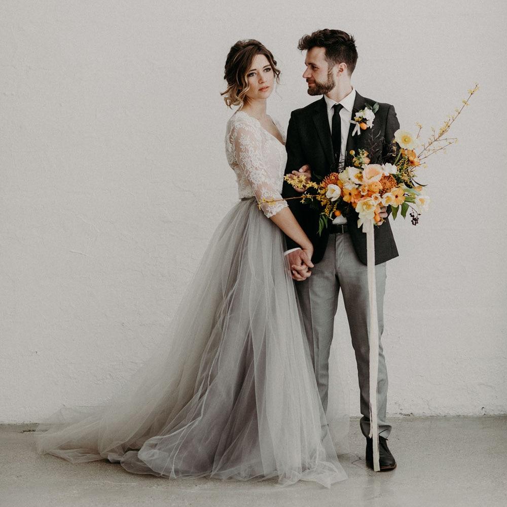 Bohemian 2017 Gray Long Tulle Skirts For Bridal Custom Made Elegant Tutu Skirt Women Zipper Style