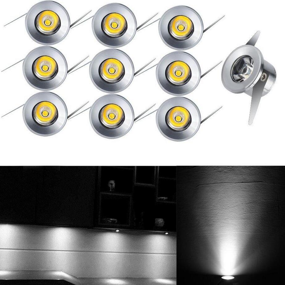 10Pcs 1W LED Recessed Mini Spot Lamp Ceiling Light For Home Cabinet