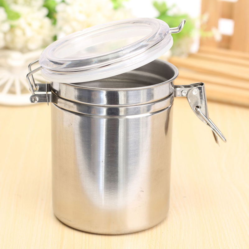 Stainless Steel Airtight Sealed Canister Coffee Flour Sugar Container Holder