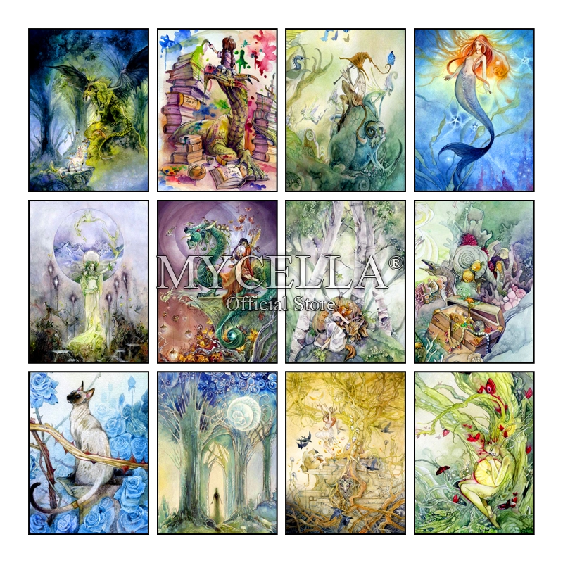 Us 7 8 40 Off Diy Diamond Painting Cross Stitch Mosaic Fantasy Art 5d Tarot Cards Mermaid Art Drawings Home Decor Diamond Embroidery Kids Gift In