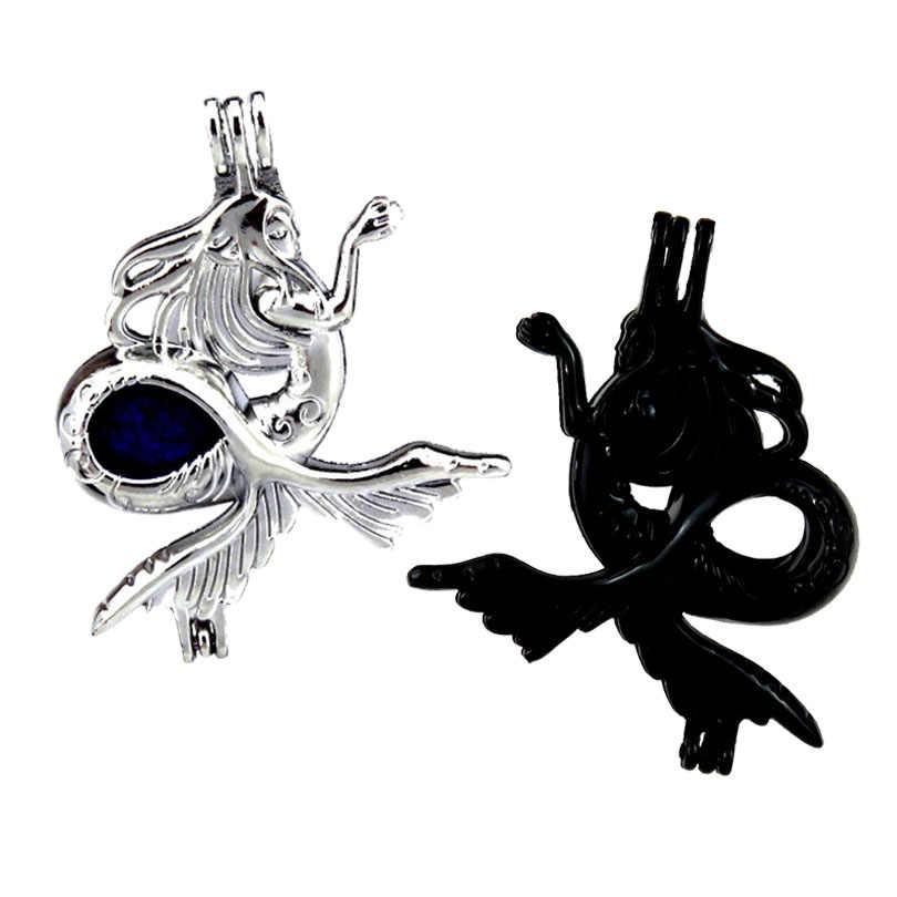 Màu đen/Bạc Quyến Rũ Biển Mermaid Hạt Lồng Mề Đay Mặt Dây Chuyền Tinh Dầu Khuếch Tán Đá Lồng Ngọc Trai Hỗn Hợp 2 cái/lốc