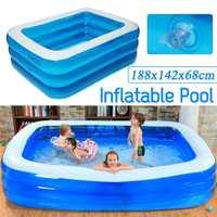 Crianças piscina inflável 188x142x68cm uso doméstico das crianças piscina para crianças tamanho grande inflável piscina quadrada calor conservatio Piscina    -