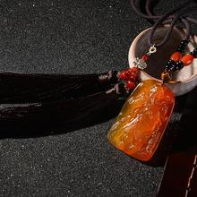 Car Ornament decoration Calcedony Pendant with Gem Identification chinese Style Business flourishes Auto Rearview Mirror Pendant the diversity of iceland two color mirror dichroic mirror gem identification