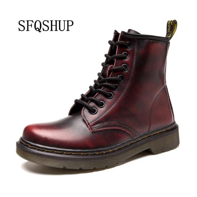 ขายร้อนแฟชั่นรูปแบบฤดูใบไม้ผลิฤดูใบไม้ร่วงฤดูหนาวคุณภาพสูงหนังแท้ Marten รองเท้าผู้หญิงข้อเท้ารองเท้า