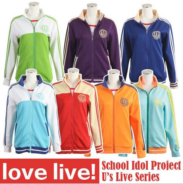 LoveLive Love live Sports Wear coat Nozomi Tojo Umi/ Eli/ Hanayo/Nico/Rin Cosplay Hoodie Jackets cotton