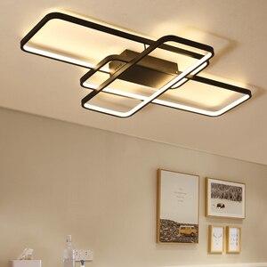 Image 3 - สี่เหลี่ยมผืนผ้ารีโมทคอนโทรลโคมไฟเพดาน LED โมเดิร์นสำหรับห้องนั่งเล่นห้องนอน Home AC85 265V สีขาว/สีดำโคมไฟเพดานโคมไฟ