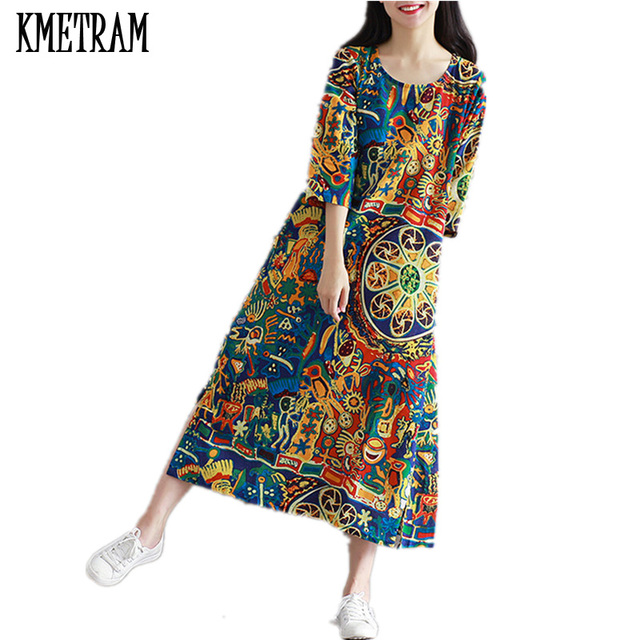 2018 Spring Summer Dress Women Clothes Flower Cotton Maxi Dresses ...
