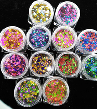 12 jars Nail Art Confetti Glitter Sets Decoration Round Dot Shape Mini Sequins craft supplies thin color small combination