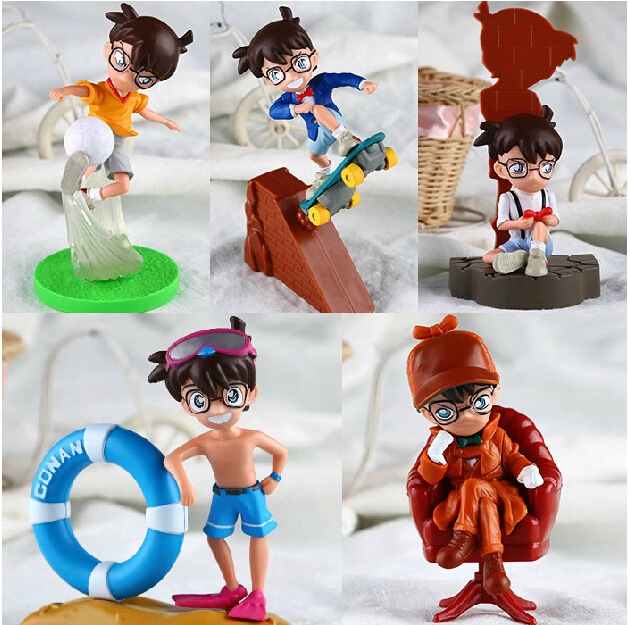 5pcs/set Anime Cartoon Detective Conan PVC Action Figures Collectible Toys Dolls DC018 6 pcs set princess snow white cinderella action figures toys cute q version 9cm pvc statue anime collectible dolls kids gift