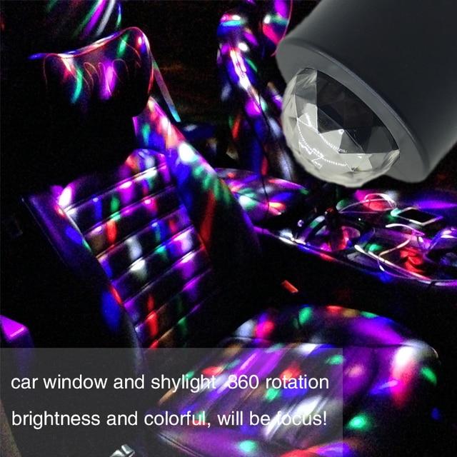 Car-styling USB Interior Light Atmosphere Lamp Crystal Magic Ball Music Control DJ Light 3 LED Bulbs KTV DJ Disco Laser Light
