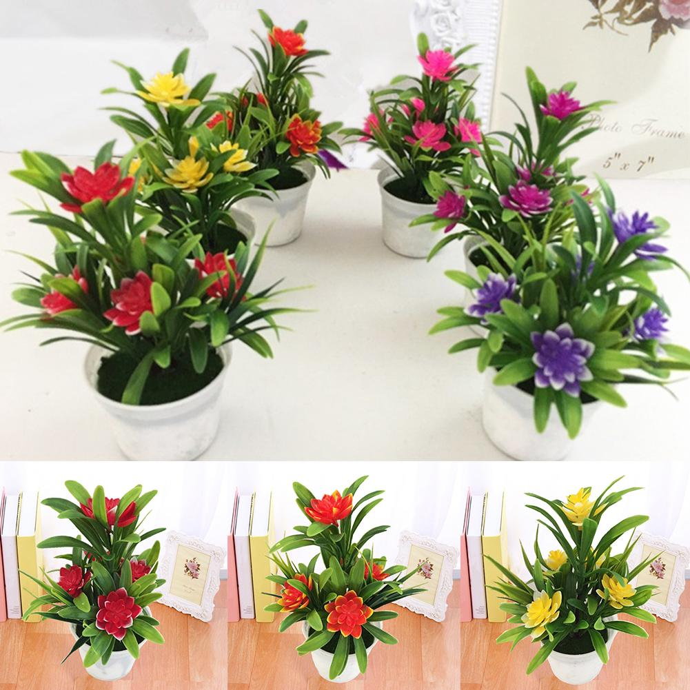 1PC New Artificial Fake Lotus Flower Potted Plant Bonsai Artificial Plants With Flower Pot For Home Party Garden Home Decor