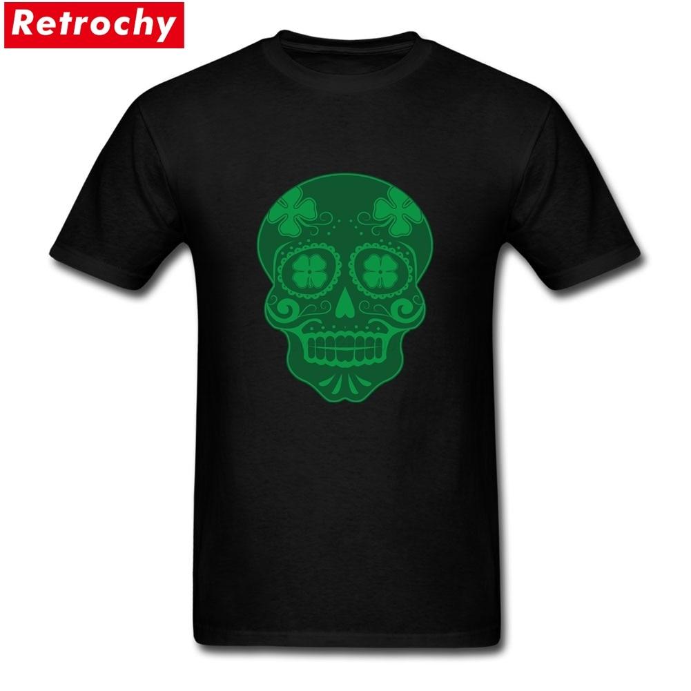 Us 12 54 43 Off Elegant Mens Custom Clover Skull T Shirts Stretch Fit Soft Cotton Printing Medium In From Men S Clothing On