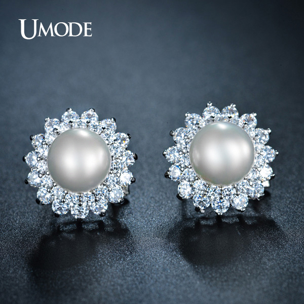 Umode Elegant Synthetic Pearl Earrings For Women French Clip Stud Wedding Jewelry Retro