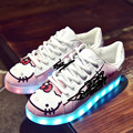 2017 Hello Kitty Women Led Shoes For Adults Spring/autumn Luminous Lamp Lace-up Lights Casual Grow Shoes Zapatillas Led Hombre