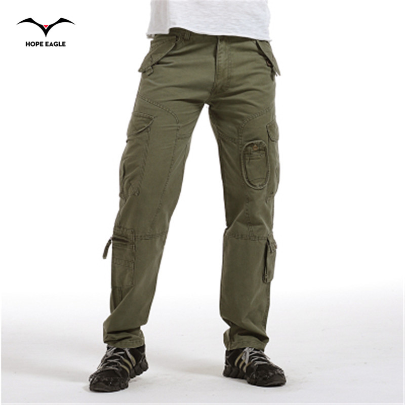 2017 Mens Clothes Casual Male Trousers Overalls Multi Pocket Loose Cotton Washed Straight Men Full Length