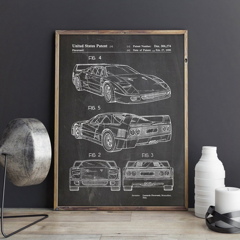 For Ferrari F40 Car Artwork Patent Prints Auto Wall Art Transportation Poster Room Decor Blueprint Canvas Painting Picture Gift
