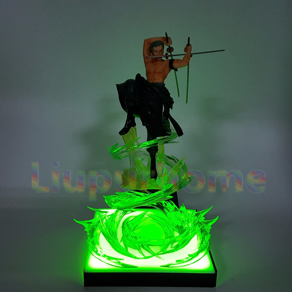Anime One Piece Roronoa Zoro Led Light Figuarts ZERO 200mm One Piece Anime Zoro Led Lamp Base Christmas Decor Night Lights one piece action figure roronoa zoro led light figuarts zero model toy 200mm pvc toy one piece anime zoro figurine diorama