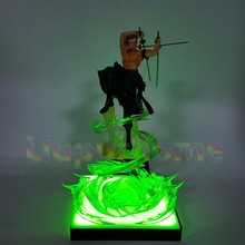 купить Anime One Piece Roronoa Zoro Led Light Figuarts ZERO 200mm One Piece Anime Zoro Led Lamp Base Christmas Decor Night Lights дешево