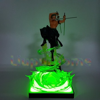 Anime One Piece Roronoa Zoro Led Light Figuarts ZERO 200mm One Piece Anime Zoro Led Lamp Base Christmas Decor Night Lights japan anime one piece original bandai tamashii nations figuarts zero collection figure nami one piece film gold ver