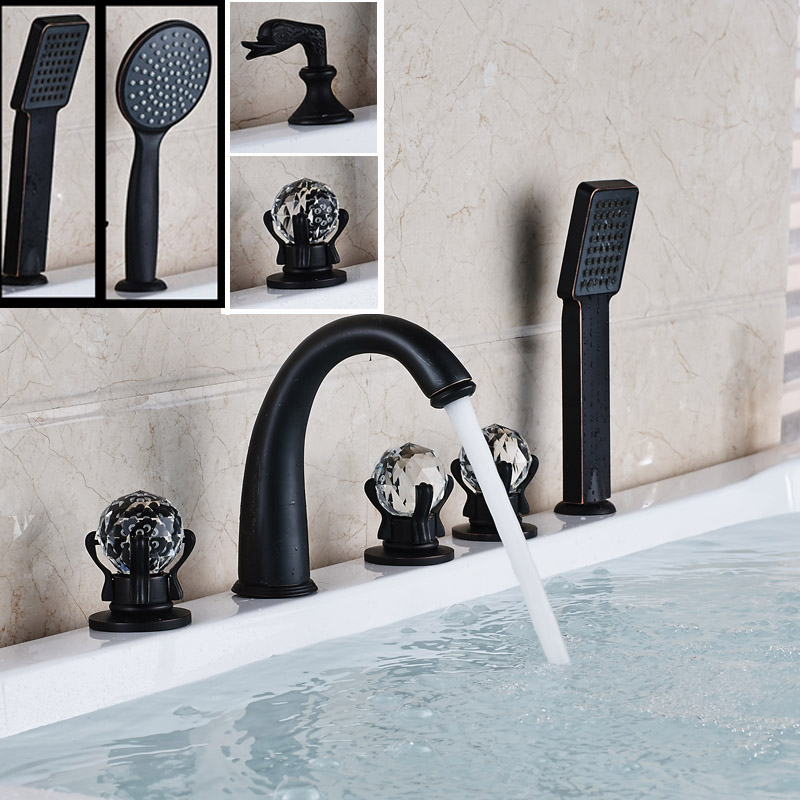 2016 New Bathroom Widespread 5pc Bathtub Faucet Deck Mounted with Handshower Tub Mixers