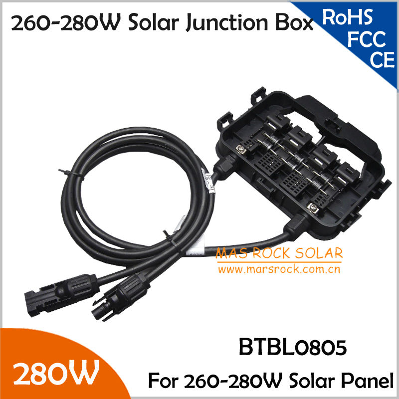 5pcs/Lot Wholesale 260-280W Junction Box for Solar Panel, IP65 Waterproof, 6Diodes, MC4 Connectors, 90cm Cable, TUV Certificate load cell junction box 5 hole 4 wire junction box weighbridge weighbridge hub