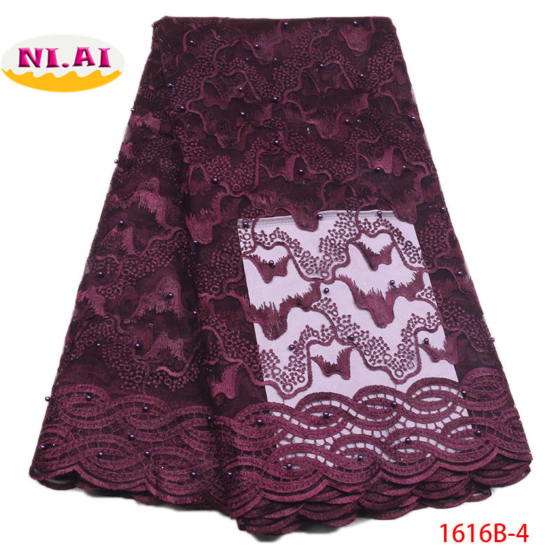 White Net Lace Fabric Nigerian Lace Fabric 2018 High Quality Lace Purple Embroidered Lace Appliques For