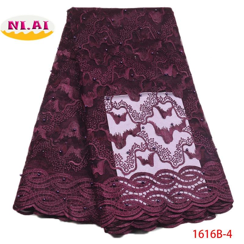Tissu dentelle blanc nigérian tissu dentelle 2018 haute qualité dentelle violet brodé dentelle Appliques pour DressesNA1616B 2 de mariée-in Dentelle from Maison & Animalerie    1
