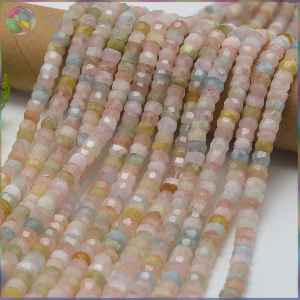 Natural Morganite Beryl / Sunstone / Labradorite / Aquamarine Anomalistic Faceted Wheel Beads 8x5mm